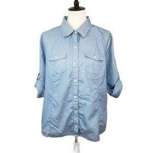 Christopher & Banks Blue Chambray Button-up XL